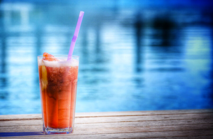 exotic drinks by the pool