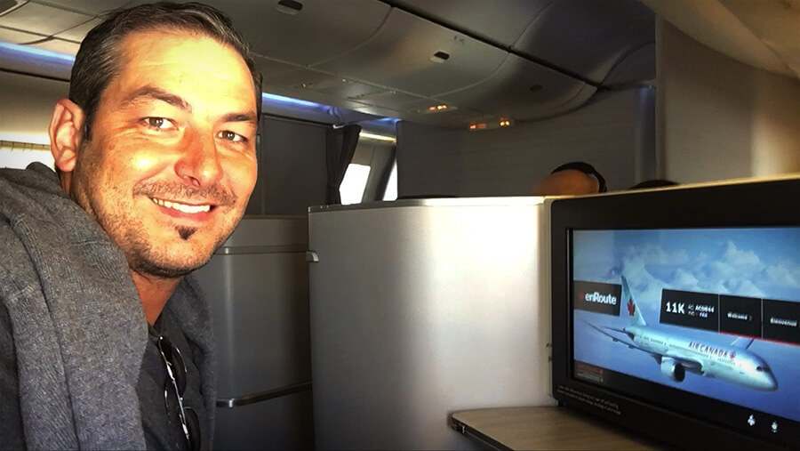 passenger in first class in airplane
