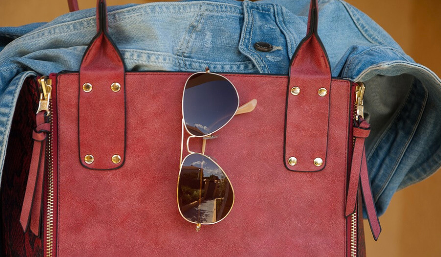 bag jacket and glasses for women