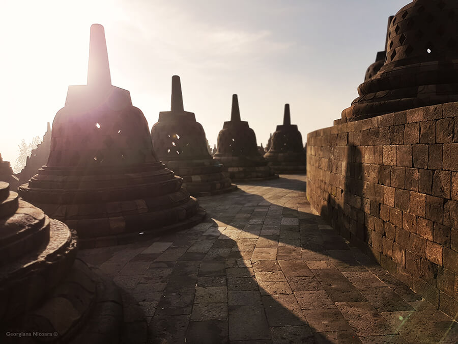Borobudur stupas and sunrise