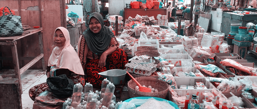 two ladies in street market indonesia
